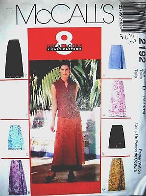 1999 McCall's 2192 CUT size 16 Misses wrap skirts in 2 lengths..8 great looks