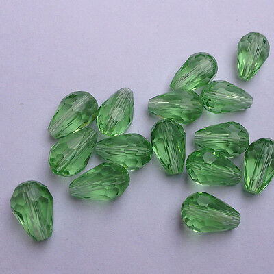 20pcs 8x12mm Teardrop Glass Faceted Loose Crystal Spacer Beads apple green ,hot#
