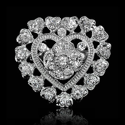Chic SILVER TONE HEART AND FLOWER JEWELRY DIAMANTE CRYSTAL PIN BROOCH WEDDING