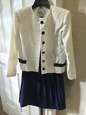 SWEET SUITS Petite Lined Jacket & Skirt White/Navy size 6 Poly/Rayon