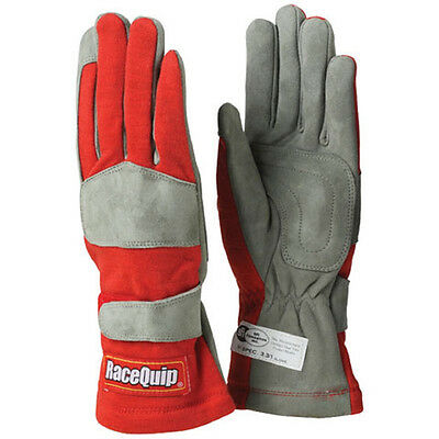 Racequip Driver Racing Gloves 1-Layer Nomex Knit 351-Series Red (Lrg) Sfi3.3/1