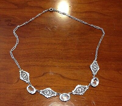 Vintage Art Deco 1920's Necklace Faceted Glass Stones Etched Rhodium Filigree