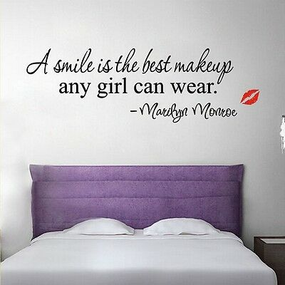 """Marilyn """"A smile is the best make up"""" Quote Art Vinyl Wall Stickers"""