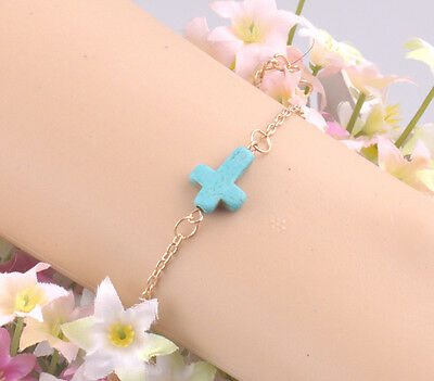 New Fashion Women's Gold Plated Chain Blue Turquoise Cross Cuff Bracelet Jewelry