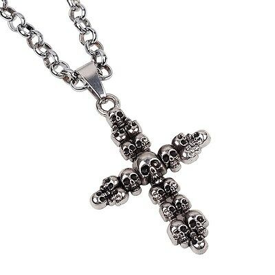 Fashion Men Women Jewelry Charms Vintage Pendants Skeleton Cross Long Necklace