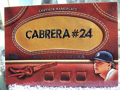 Miguel Cabrera Tigers 2011 Topps Baseball Series 1 Leather Nameplate