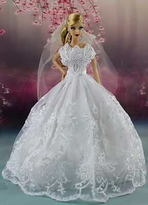 White Fashion Party Dress Wedding Clothes Gown+Veil For Barbie Doll AF15A5
