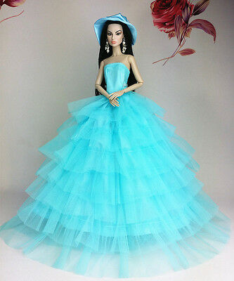 Fashion Royalty Princess Party Dress/Clothes/Gown+Hat For Barbie Doll S175P4