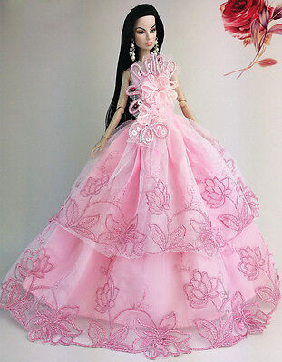 Pink Fashion Princess Party Dress Clothes/Gown For Barbie Doll S19P4