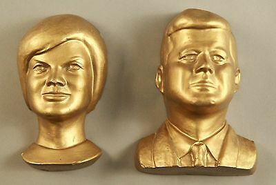 Vintage 60s Chalkware Plaster President Kennedy JFK and Jackie Gold Wall Bust