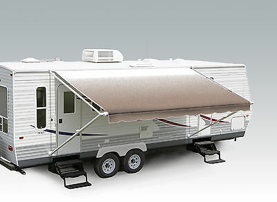 """16' Camel Fade w/Wht W/G, RV Patio Awning Repl. fabric canopy (Fabric:15'2"""")"""