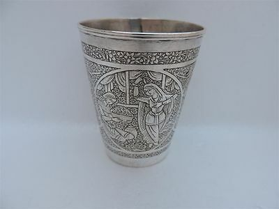 MUSEUM Antique 1880 Large Persian QAJAR Islamic Solid Silver figural Cup Beaker