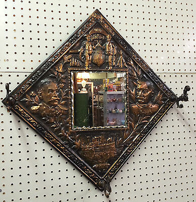 Our Boys of 98 Maine Antique Spanish American War Copper 26 inch Mirror WWI