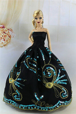 Black Fashion Princess Party Sequin Dress Clothes Gown For Barbie Doll S12BP2