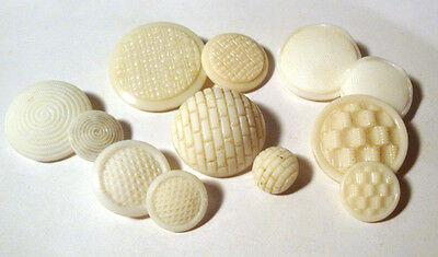 LOT 12 Vintage + Antique WHITE GLASS Buttons = 6 MOTHER DAUGHTER PAIRS Sets