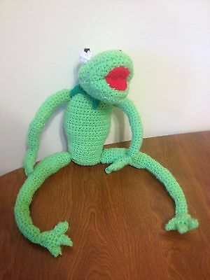 EUC Handmade KERMIT THE FROG Green Crochet Knit Stuffed Toy Muppets Hand Made