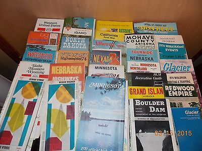Large Lot Vintage Road Maps and Travel Tourist Brochures