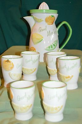Vintage Napco Ceramic Good Morning Juice Set,Pitcher w/Reamer,6 Glasses, EUC