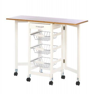 Kitchen Trolley Extended Table Extra Work Station 3 Wire Baskets Storage
