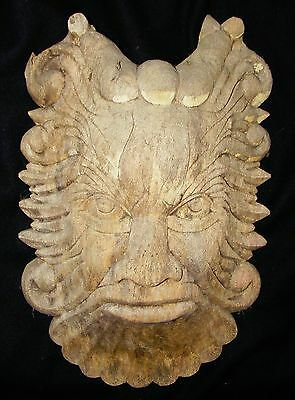 CARVED WOOD FACE,GREEN MAN, FATHER TIME,OLD MAN WINTER, FOLK ART INDONESIA