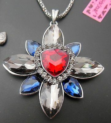 Betsey Johnson, bright red and blue crystal gemstone pendant necklace N322