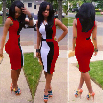 Sleeveless Hot Sexy Womens Club Cocktail Evening Party Bodycon Slim Dress Red XL