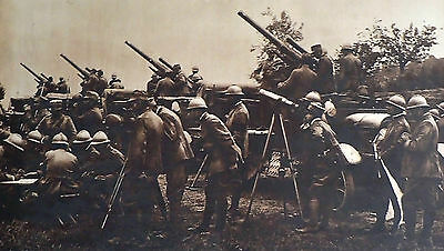 Antique Photogravure Etching WWI Italian Truck Mounted Artillery Aid Infantry