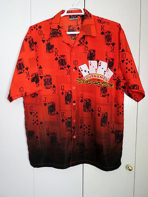 J/E/T mens shirt size XL red playing cards poker tournament Texas Hold'em poly