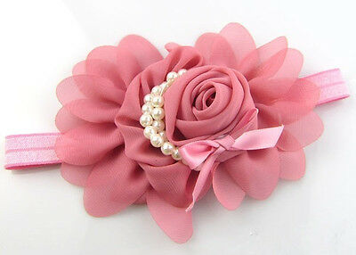 HOT Baby Headband Rose Pearl Ribbon Flower Hair Accessories Dark Pink