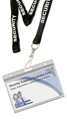 Security Lanyard with Hard ID Holder - Holds 2 ID Cards - Tracking Available