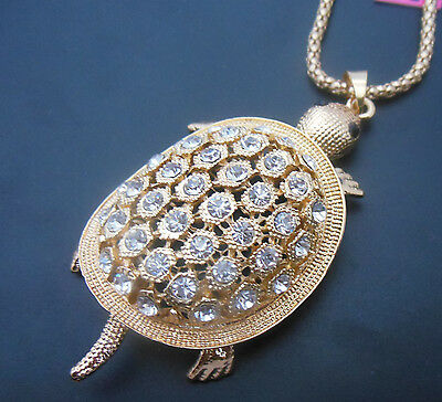 Betsey Johnson High quality champagne turtles beautiful crystal necklace# N248Xi