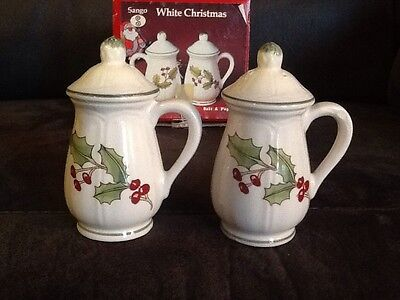 Vintage Sango 'White Christmas' SALT & PEPPER Shakers Holly Berries With BOX