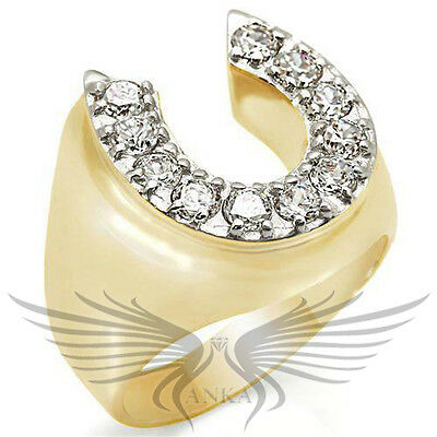 Men's Horseshoe Gold Plated Top Graded Crystal Lucky Ring 10 11 12 13 2W080
