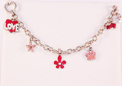 Adorable Pink and White Enamel Charm Sterling Silver Toggle Bracelet-Love/Heart