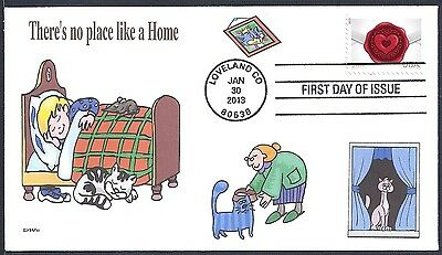 CATS- THERE'S NO PLACE LIKE A HOME  BOY  BED  GRANDMA  SEALED WITH LOVE FDC- DWc