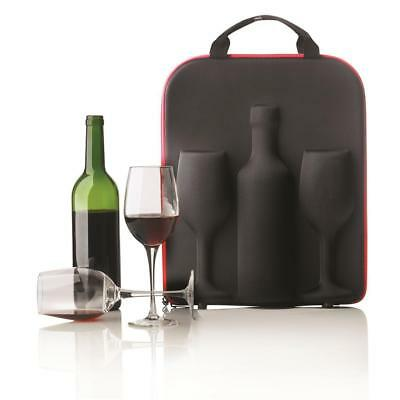 XD Design Swirl Wine Bottle Protection Carrier with Glasses  For Camping Picnic