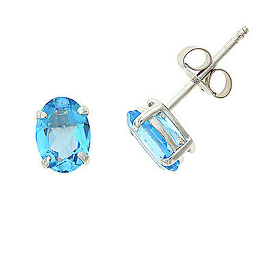 .925 STERLING SILVER - 1.66CTW 5 X 7 MM OVAL GENUINE NATURAL BLUE TOPAZ EARRINGS