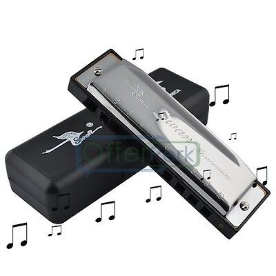Musical Quality Silver Special Swan Harmonica 10 Holes Key Of B Silver with Case