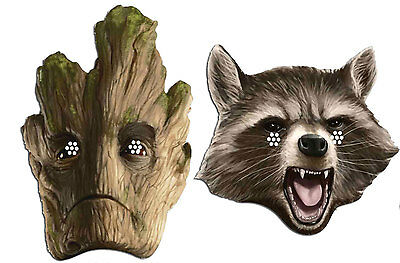 Groot & Rocket Raccoon Guardians Of The Galaxy Marvel Card Party Face Mask Pack