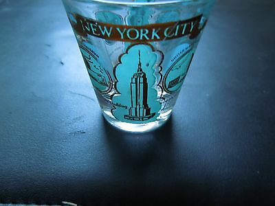 Vintage NYC souvenir Statue of Liberty Empire State Building Shot Glass 1940's