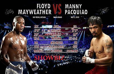 Floyd Mayweather Vs Manny Pacquiao Fight Of The Century Signed Poster Photo