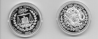 2012 YEAR OF THE DRAGON 1 OUNCE PURE 999 SILVER COIN SOMALILAND PROOF LIKE