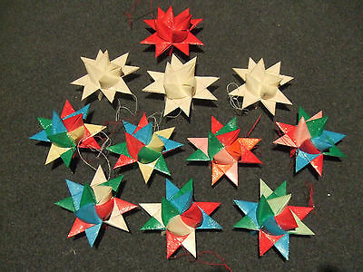 12 Vintage Moravian Star Christmas Oragami Ornaments, Handmade Paper orn.