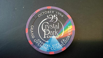 Paulson Crystal Park Casino $25 House Poker Chip Crystal City, CA Grand Opening