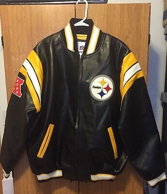 NFL Officially Licensed Pittsburgh Steelers Faux Leather Varsity Jacket Large