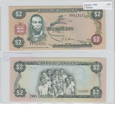 1960 2 Dollar Banknote from Jamaica in UNC Condition.