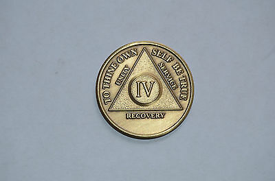 AA Alcoholics Anonymous Recovery Brass Token Medal Chip 4 Year IV