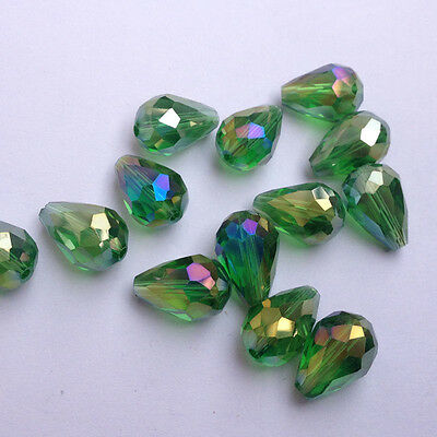 20pcs 8x12mm Teardrop Glass Faceted Loose Crystal Spacer Beads grass green AB !!