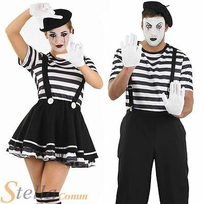 Adult Mime Artist Fancy Dress Costume Black White Street Circus French Outfit
