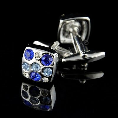 Vintage Dots Crystal Stainless Steel Wedding Party Gift Mens Women Cuff Links